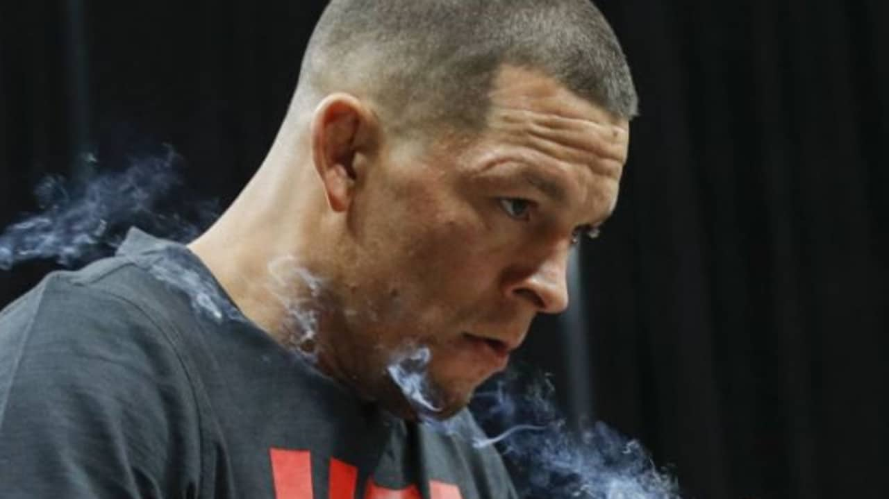 Nate Diaz smoked what appeared to be a joint on stage.