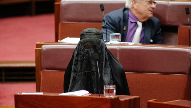 The burka-in-the-Senate stunt led to a spike in the party's polls. Picture: Gary Ramage