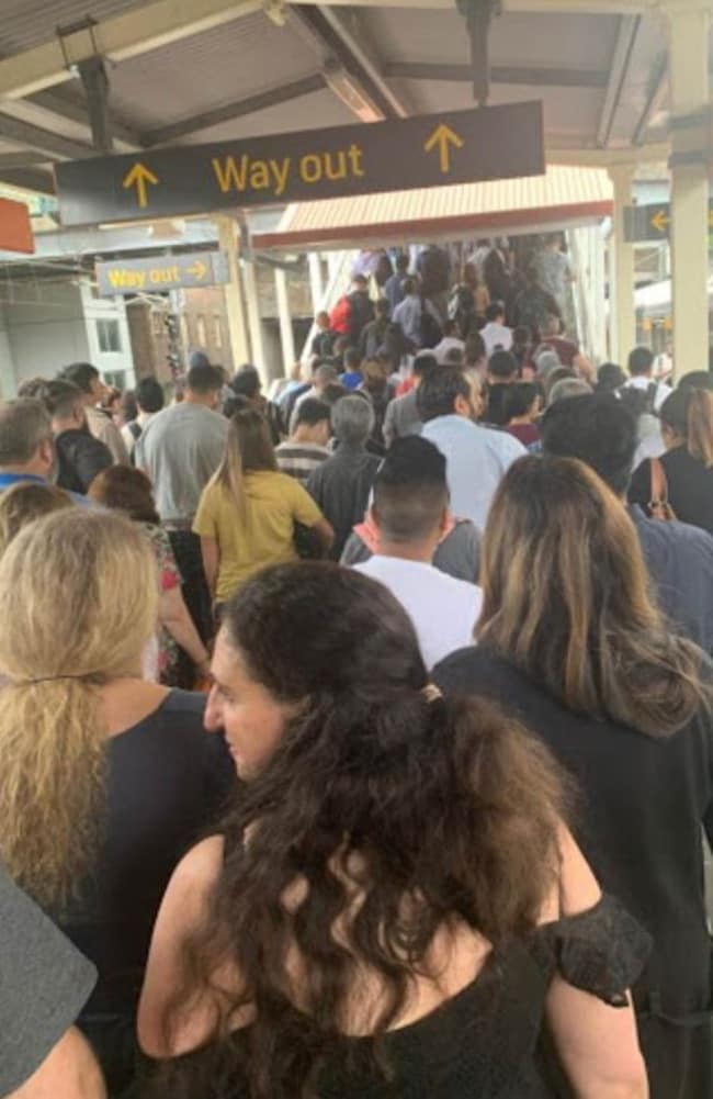 Commuters were trapped at Redfern station after trains became 'held' in both directions. Picture: Steph Bedo