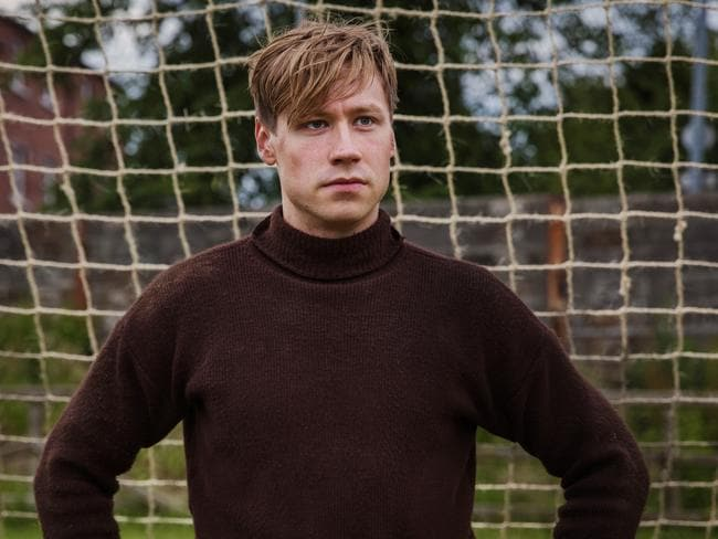 Bert Trautmann (David Kross) in a scene from The Keeper.