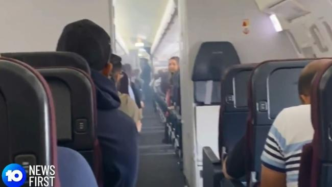 What looks to be smoke from inside the plane. Picture: 10 News