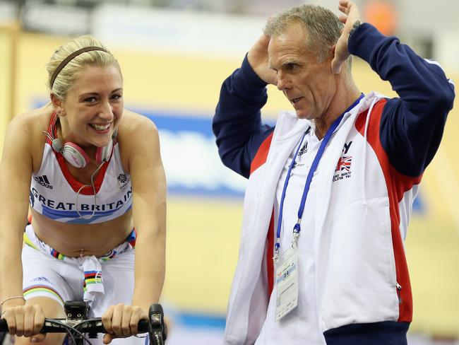 Shane Sutton (right) with cyclist Laura Trott at the UCI Track Cycling World Cup in 2012. (Photo by Bryn Lennon/Getty Images)