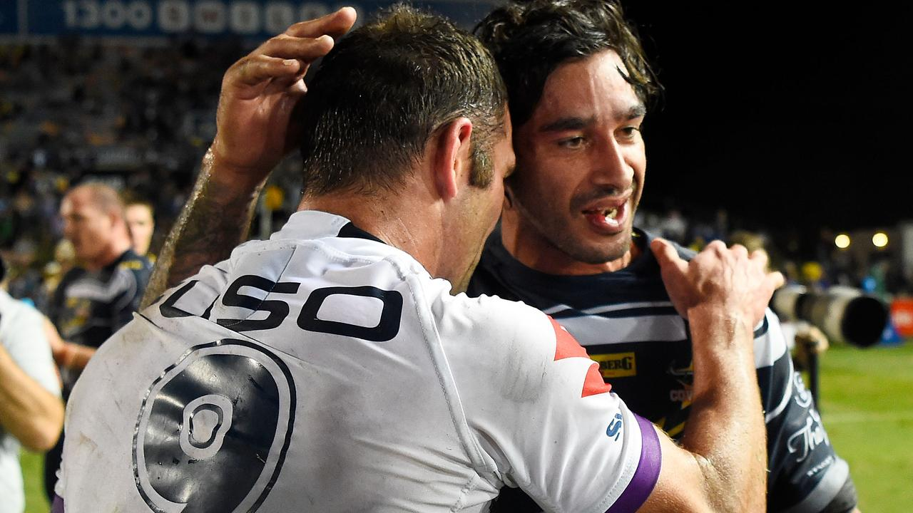 Cameron Smith and Johnathan Thurston share a joke after full-time.