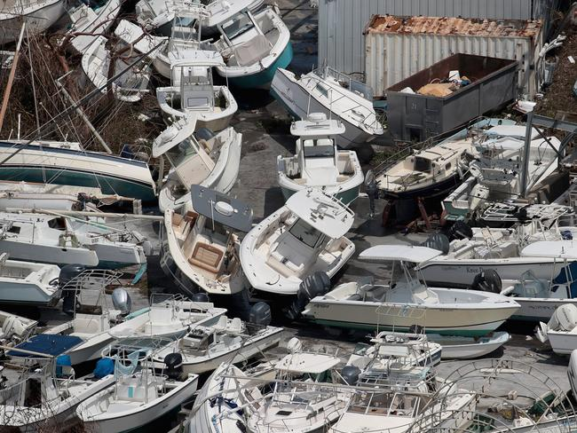 Boats tossed about by Dorian in the Bahamas. Picture: Scott Olson/Getty Images