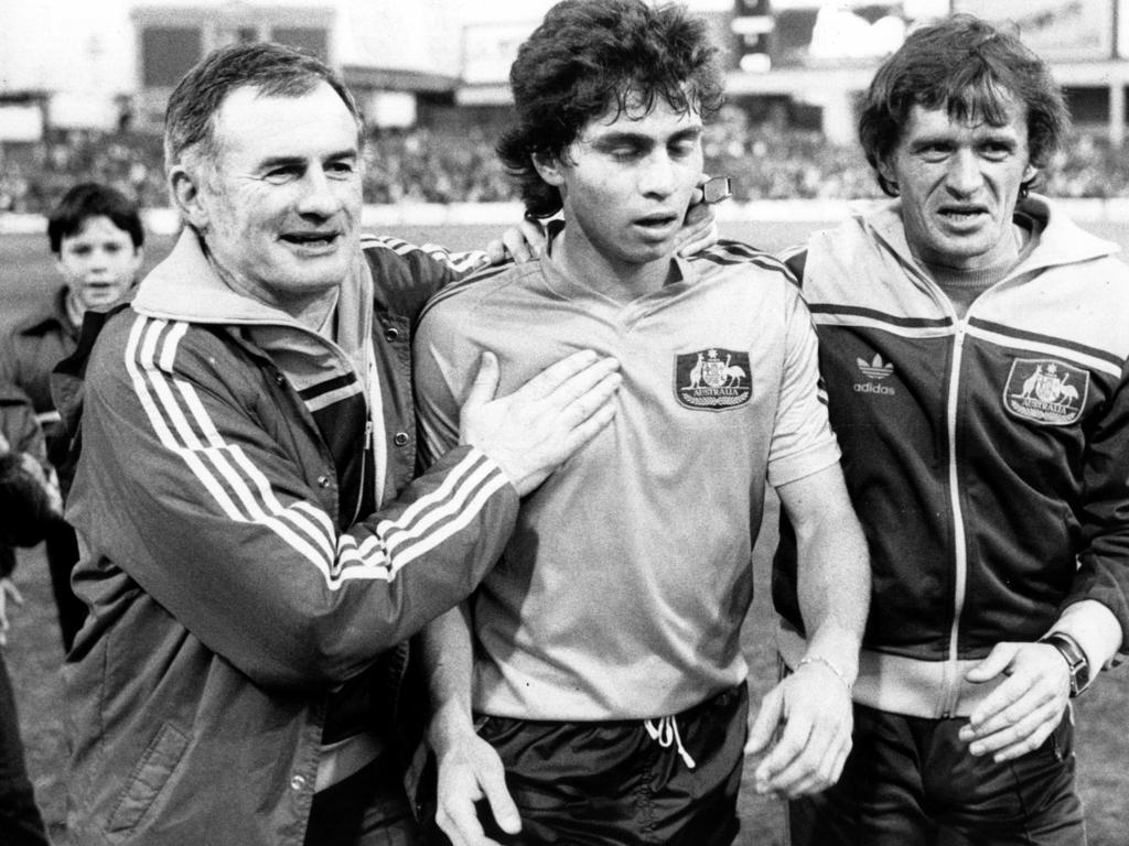 JUN 16, 1984 : Aust's coach Frank Arok (L) & assistant coach Attila Abonyi (R) with player Frank Farina after game against Juventus at the SCG. PicPeter/Muhlbock / Soccer  headshot sport action