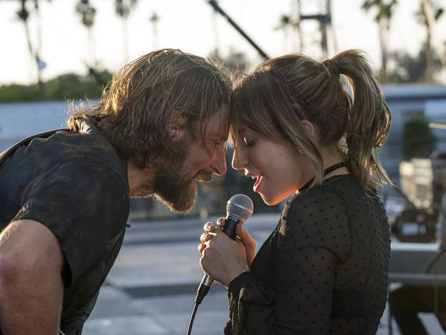 Bradley Cooper and Lady Gaga in a scene from A Star is Born. Picture: Neal Preston/Warner Bros./AP