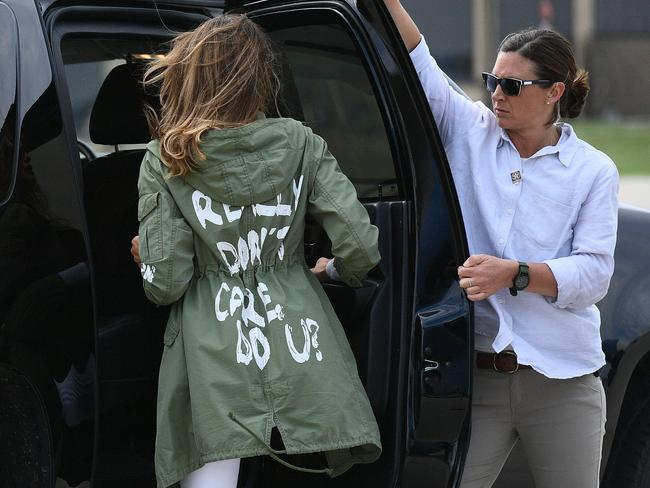 Stephanie Grisham was quick to defend Melania Trump after she wore this infamous jacket. Picture: AFP/Mandel Ngan
