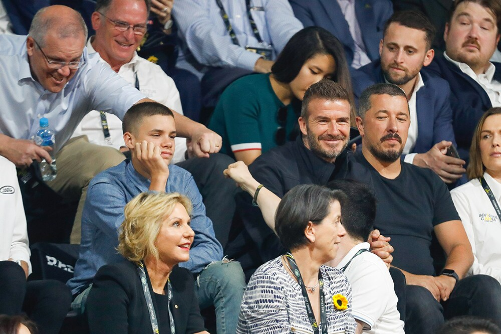 David Beckham and Romeo Beckham at the 2018 Invictus Games, Sydney. Image credit: Getty Images