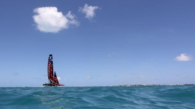 Emirates Team New Zealand races against ORACLE TEAM USA on Day 2 of the America's Cup.