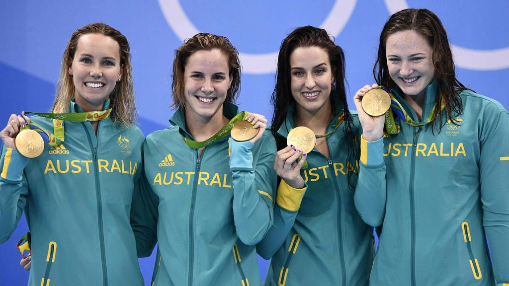 Emma McKeon won gold at the Rio Olympics in the women's 4x100m relay with Brittany Elmslie and Bronte and Cate Campbell. Picture: AFP