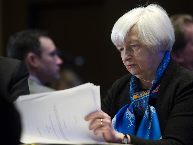 Federal Reserve Chair Janet Yellen looks at documents. Picture: AP