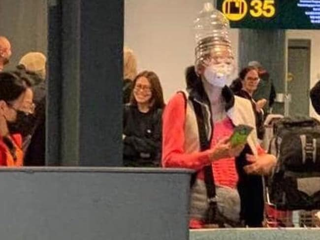 This woman is wearing a mask and a water bottle. Picture: Supplied