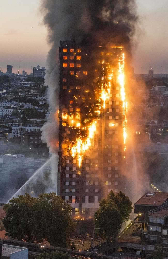 Flames were seen engulfing Grenfell Tower. Picture: Jeremy Selwyn / Evening Standard / eyevine / australscope