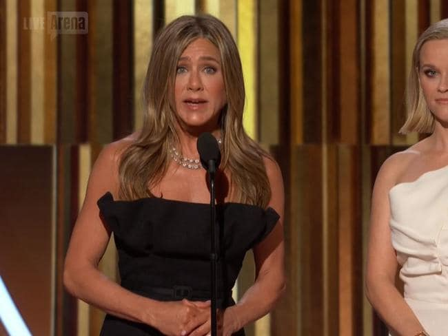 Jennifer Aniston spoke on behalf of Russell Crowe after he won a Golden Globe. Picture: Arena