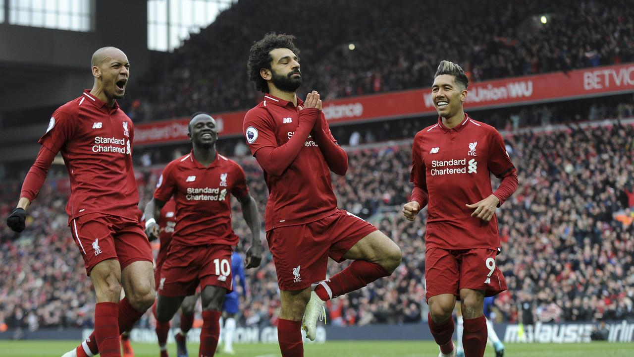 Liverpool's Mohamed Salah, centre, debuted a new celebration in the Premier League this morning after an absolute belter of a long-range strike.