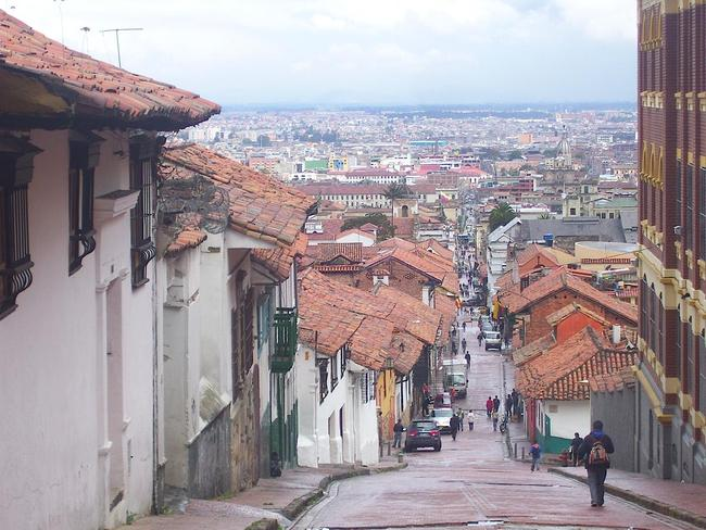The sprawl of homes in the La Candelaria district in downtown Bogota, Colombia.