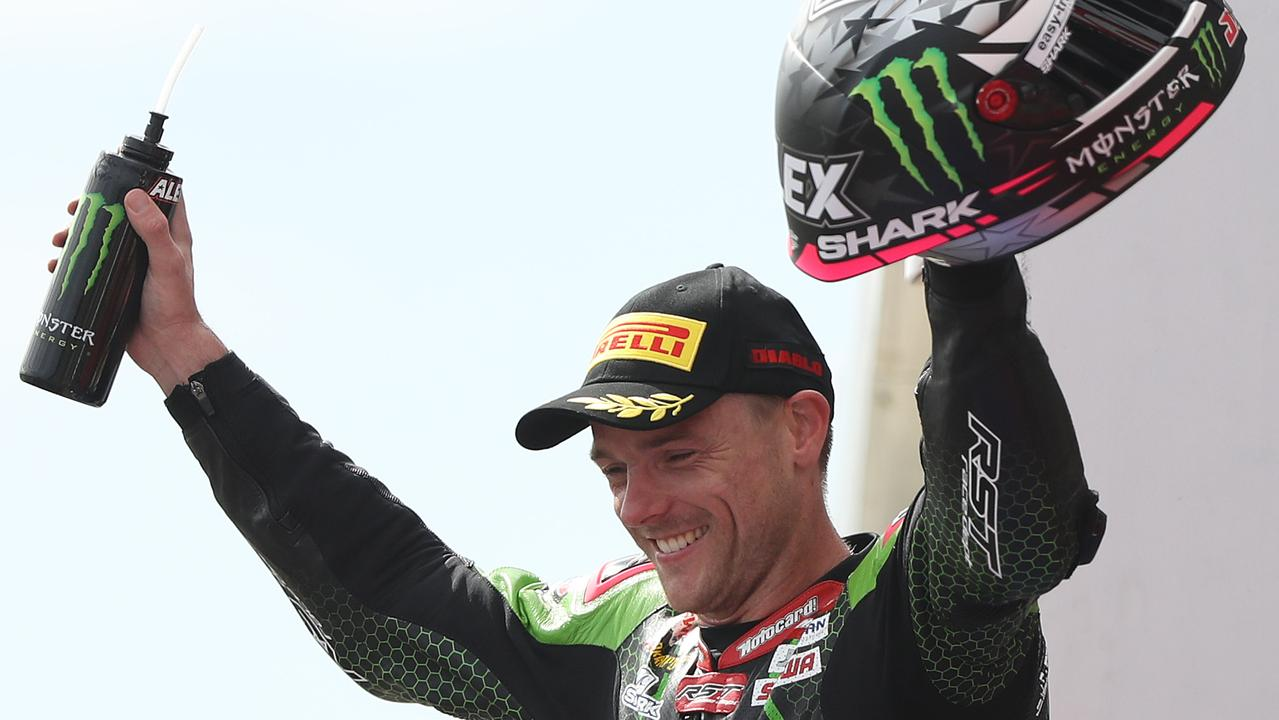 Alex Lowes celebrates after winning race two in Phillip Island.