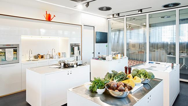 The demonstration kitchen, where you can take cooking classes.