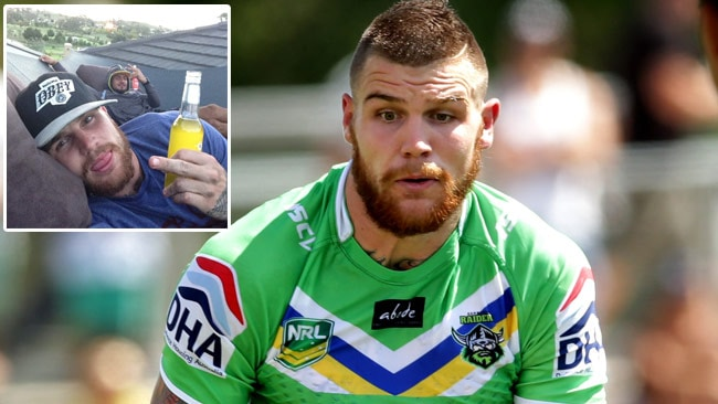 Josh Dugan in action for the Raiders and (inset) a picture he posted on Instagram in the moments leading up to the club sacking him.