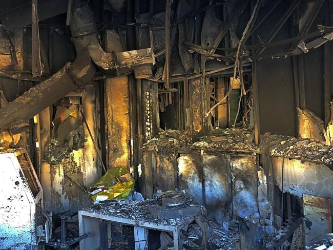Fire damage in a reception room of the US embassy. Picture: Qassim Abdul-Zahra
