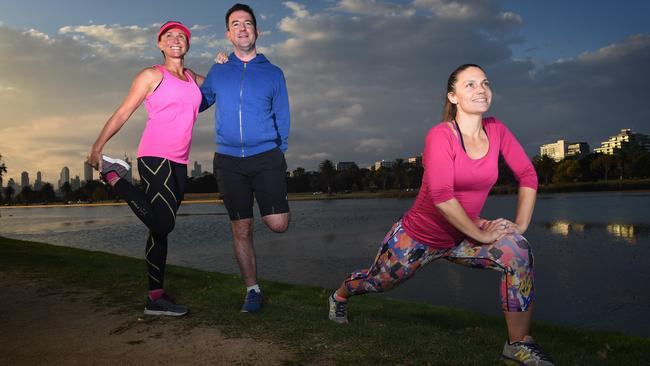 Runners Tanya Canfield, left, John Emerson and Annette Stenhouse. Picture: Tony Gough