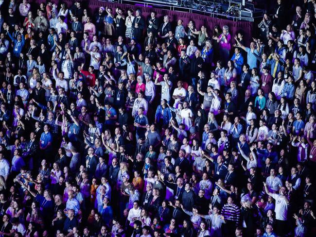 Scenes inside the Hillsong conference in Sydney earlier this year. Picture: Jenny Evans