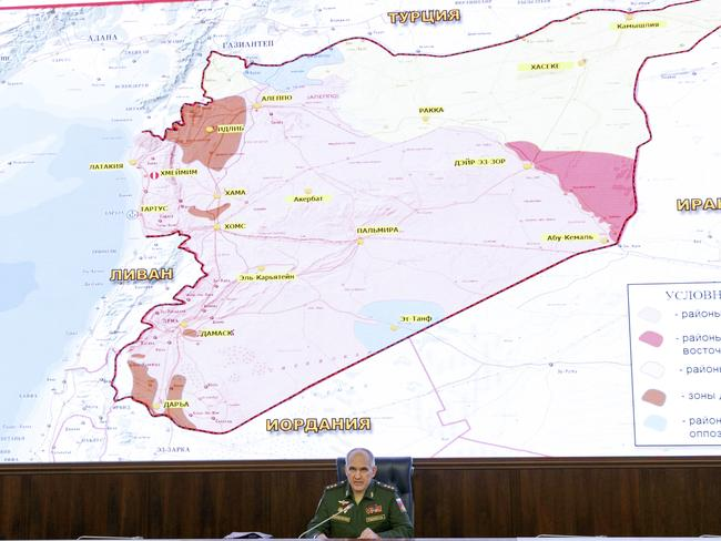 Russia's involvement in Syria has helped turn the war in Assad's favour. Pictured, Colonel General Sergei Rudskoi during a briefing in the Russian Defense Ministry in Moscow. Picture: Vadim Savitsky/ Russian Defense Ministry Press Service pool photo via AP
