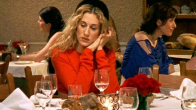 Carrie waiting for her friends that would never show is what I imagined I would look like when no one wanted to talk to me. Photo: HBO
