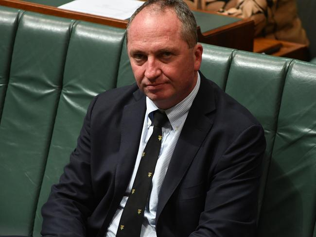 Deputy Prime Minister Barnaby Joyce during Question Time in the House of Representatives at Parliament House in Canberra, Thursday, August 17, 2017. Picture: AAP Image/Mick Tsikas
