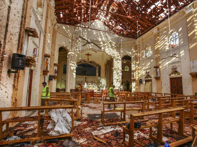 St. Sebastian's Church after a blast in Negombo, north of Colombo, Sri Lanka. Authorities blame seven suicide bombers for the coordinated bombings. Picture: Chamila Karunarathne/AP