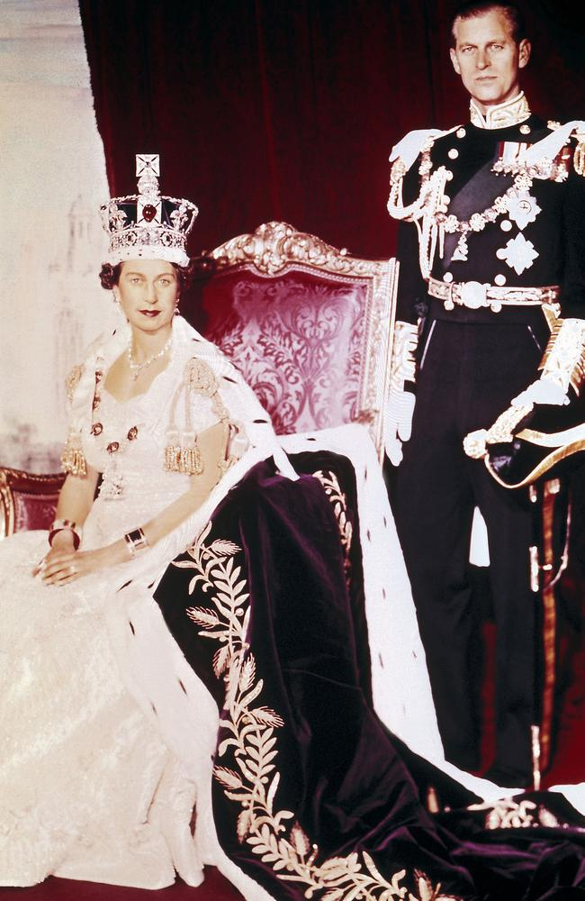 The Queen on her Coronation Day in 1953, with Philip by her side. Picture: Supplied