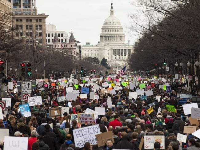 Demonstrators march down Pennsylvania Avenue during a protest in Washington, DC. Picture: Getty