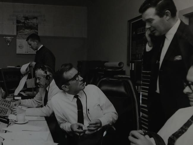 The operations room at Honeysuckle tracking station in 1969. Picture: Supplied