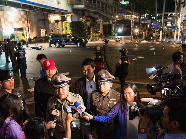 Statement ... Police chief Somyot Poompanmoung is interviewed by the press at the scene of the Bangkok explosion. Source: Getty / Nicolas Axelrod