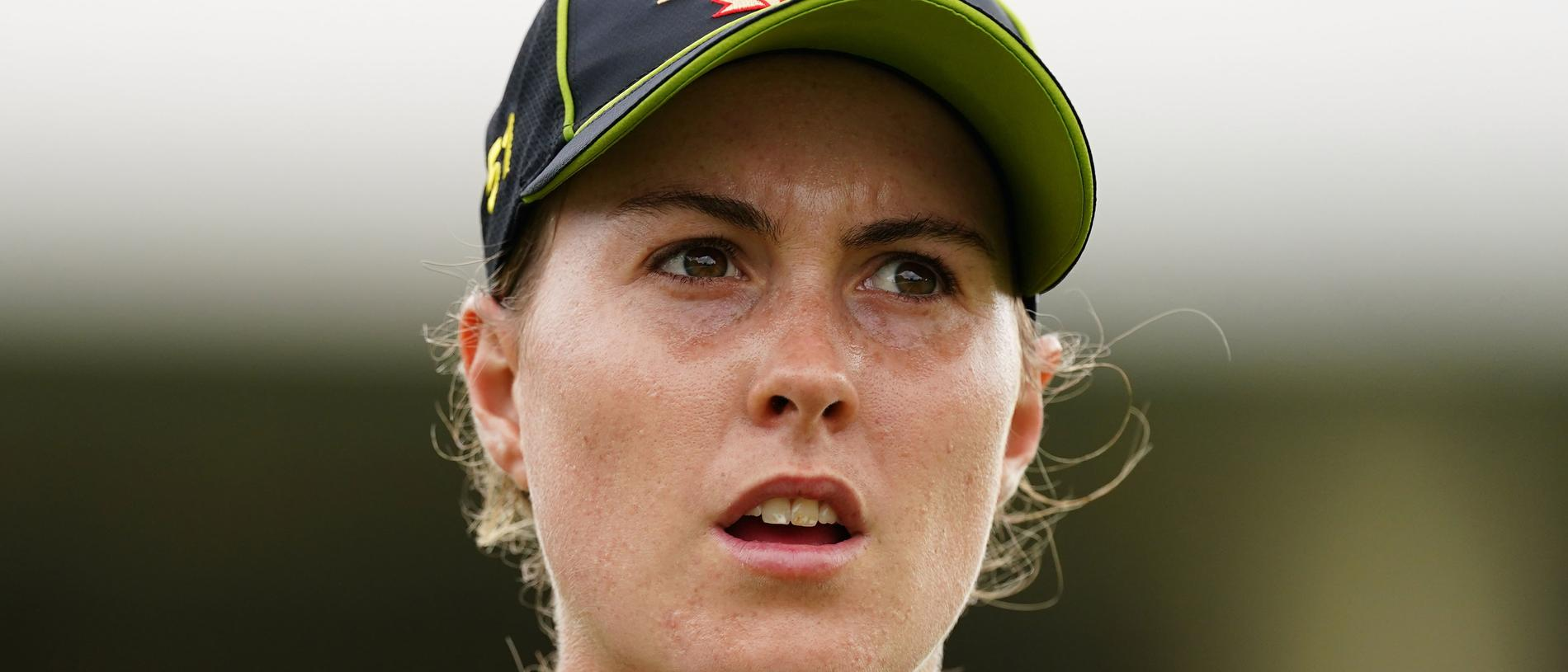 Tayla Vlaeminck of Australia looks on during the T20I Tri-Series Final cricket match between Australia and India at Junction Oval in Melbourne, Wednesday, February 12, 2020. (AAP Image/Scott Barbour) NO ARCHIVING, EDITORIAL USE ONLY