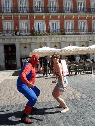Being silly with Spiderman in Madrid. Picture: Tatyana Leonov