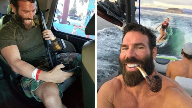 Posing with offensive objects is his specialty. Instagram @danbilzerian