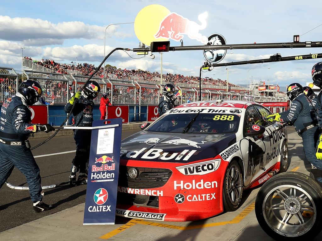 BATHURST, AUSTRALIA - OCTOBER 13: Jamie Whincup driver of the #888 Red Bull Holden Racing Team Holden takes a pit stop during the Bathurst 1000, which is part of the Supercars Championship at Mount Panorama on October 13, 2019 in Bathurst, Australia. (Photo by Robert Cianflone/Getty Images)