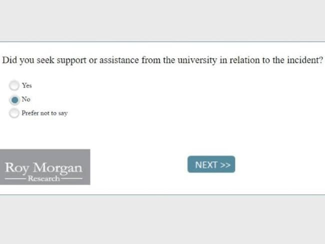 A sample question from the survey conducted by Universities Australia and the Australian Human Rights Commission.