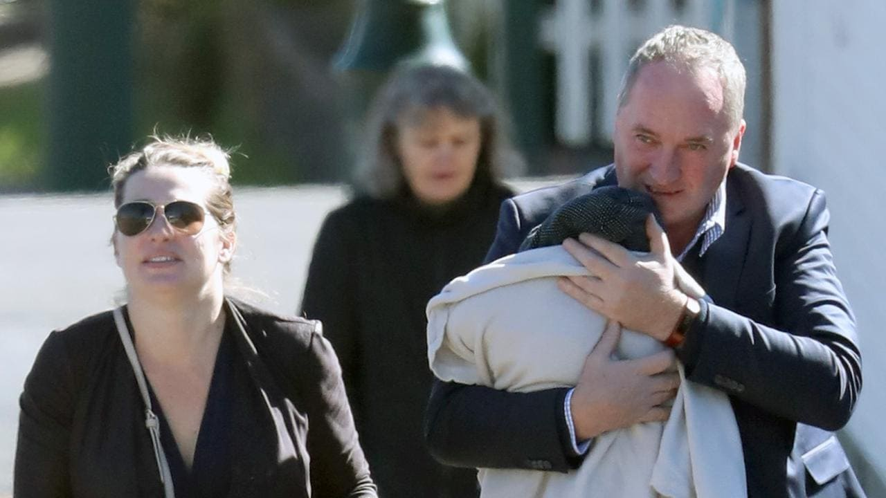 barnaby joyce takes his newborn son for a stroll