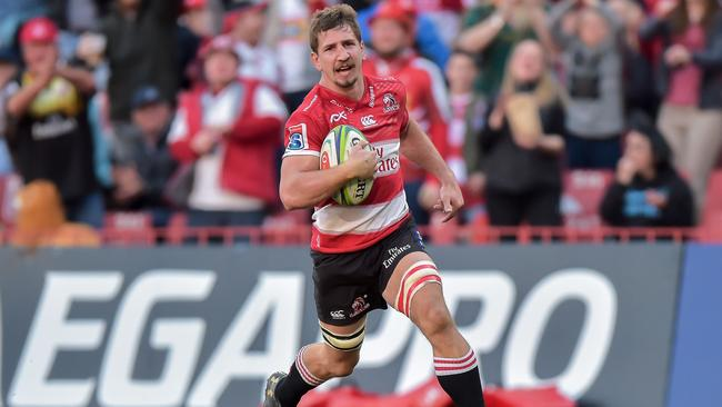 Lions flanker Kwagga Smith scores his second try of the Super Rugby semifinal.