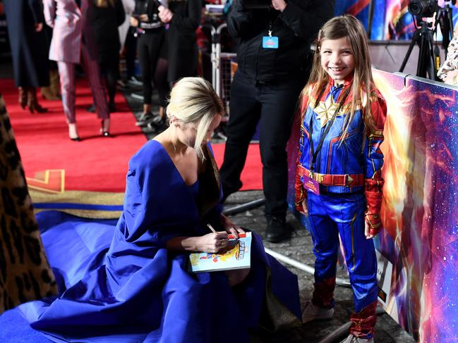 Illie meeting Brie, her action hero, at the London premiere of Captain Marvel. Picture: Gareth Cattermole/Gareth Cattermole/Getty Images for Disney