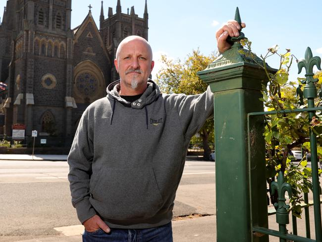 Andrew Collins, a survivor of Catholic child sex abuse, outside St Mary's Geelong Cathedral.