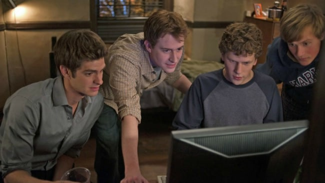 What essentially began as a way for College boys to pick up chicks has turned into a global empire. Image: The Social Network 2010.