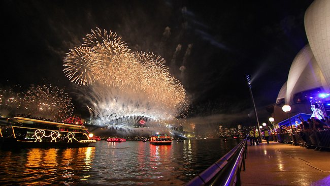Midnight fireworks on New Years Eve at the Opera House. PIcture Attila Szilvasi