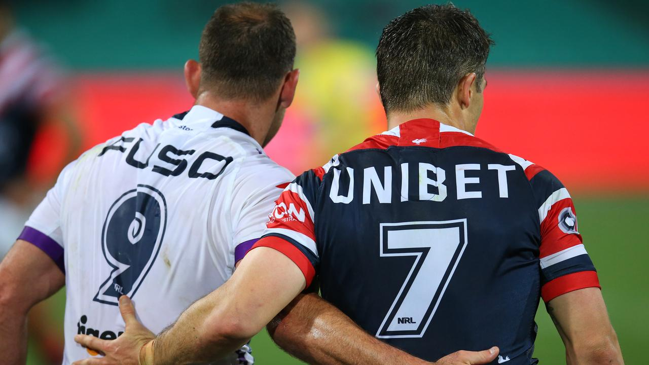 Cameron Smith and Cooper Cronk after the preliminary final.