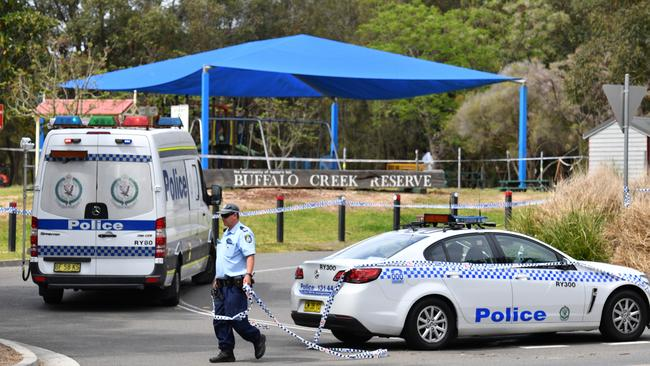Police cordon off Buffalo Creek Reserve following the discovery of a body, in Hunters Hill. Picture: Mick Tsikas