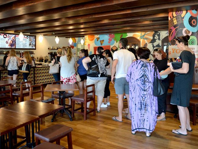Customers line up for the final day of trading at a Max Brenner cafe in Townsville. Picture: Supplied