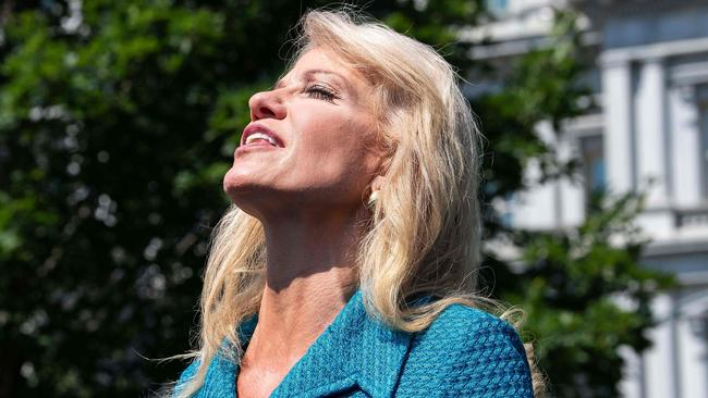 Kellyanne Conway insists she meant 'no disrespect' by asking about a reporter's ethnicity while defending the president's 'racist' tweets. Picture: AFP