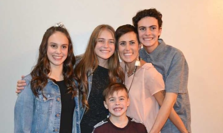 Gina with her four biological kids. Source: Gina Crotts